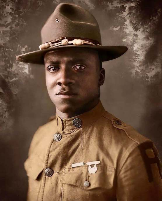 Portrait of an American soldier in 1918.