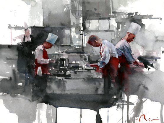 A kitchen scene watercolor painting I made