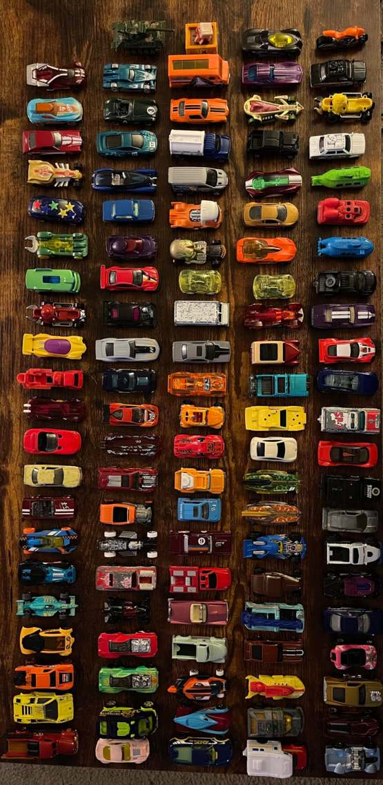 My 5 yo son asked me to help him line up all of his toy cars. He was so proud