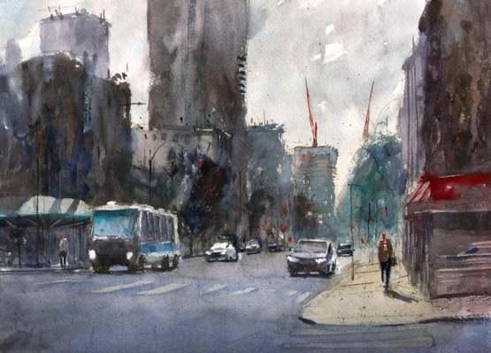 I did some watercolor painting outside my apartment in New York City