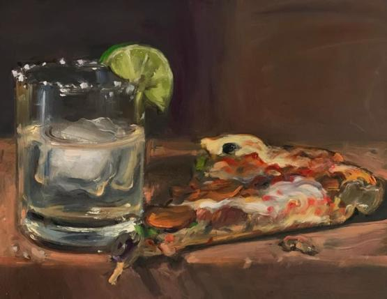 My oil painting of Pizza & Tequila