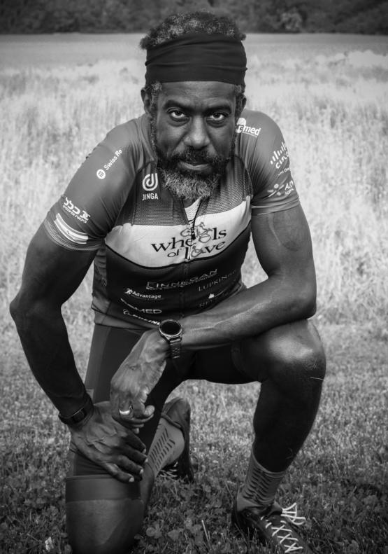 I'm a photographer working a bike ride in Maryland, captured this gentleman taking a rest