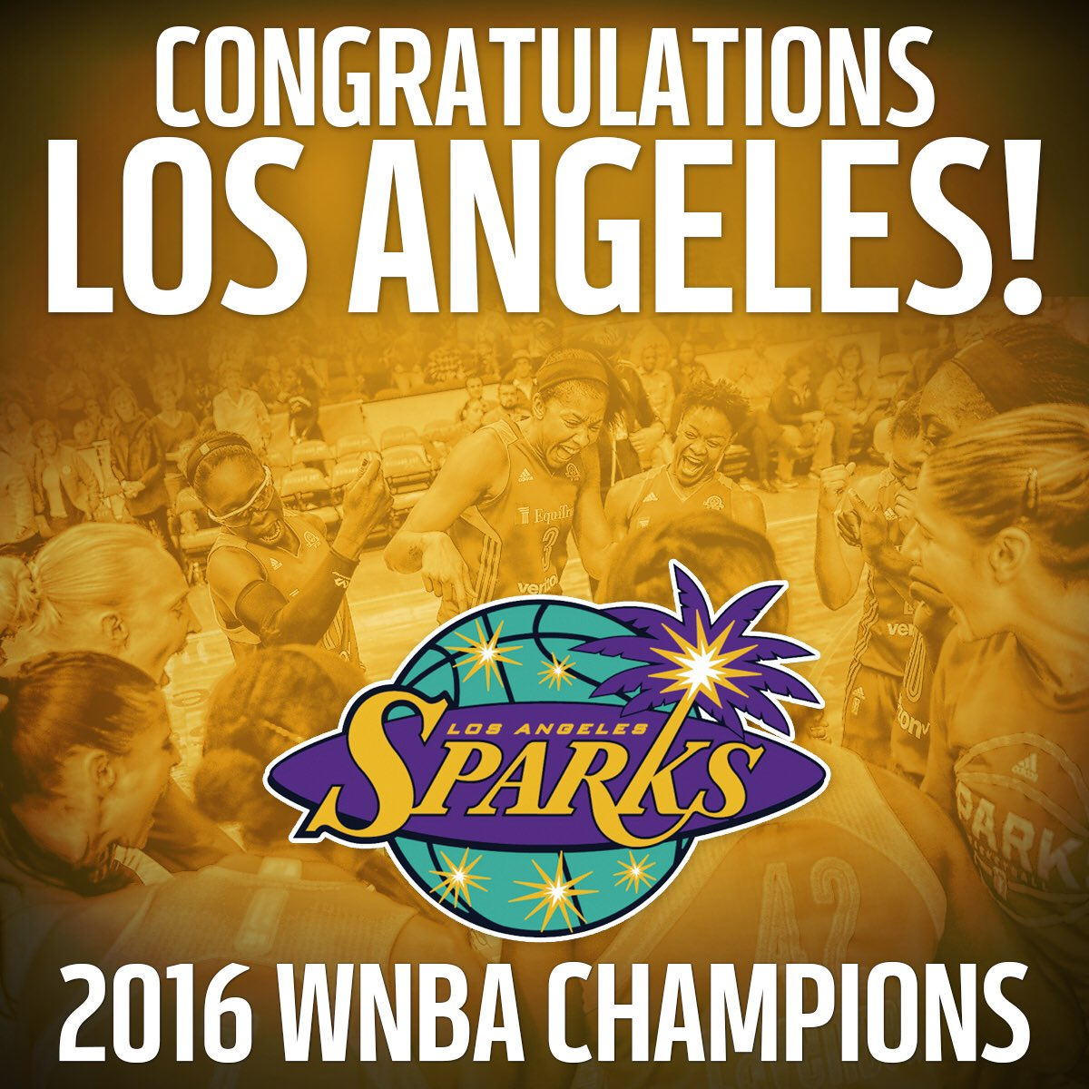 One time for L.A. #GoSparks    are your 2016 WNBA Champions! #WeRise