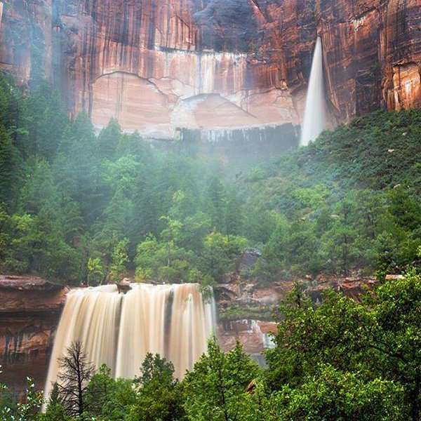 Emerald Pools durning a Flash Flood in Zion National Park, Utah