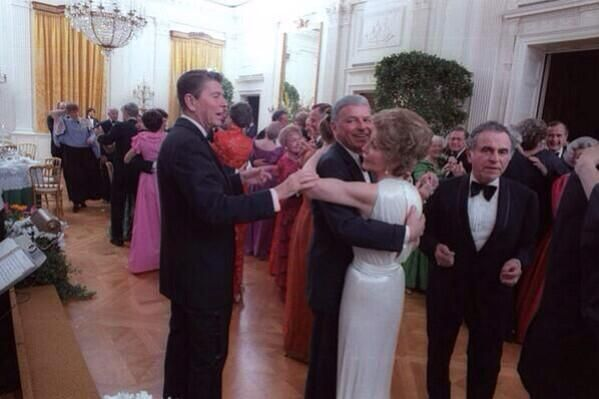 Ronald Reagan telling Frank Sinatra to stop dancing with his wife, 1981.