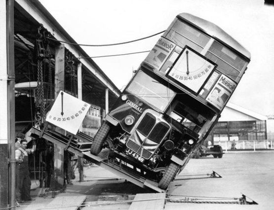 How they proved that London's Double-decker buses were not a tipping hazard, 1933.
