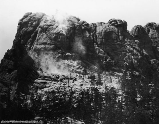 Mount Rushmore before the carving, as construction begins, South Dakota, circa 1929.