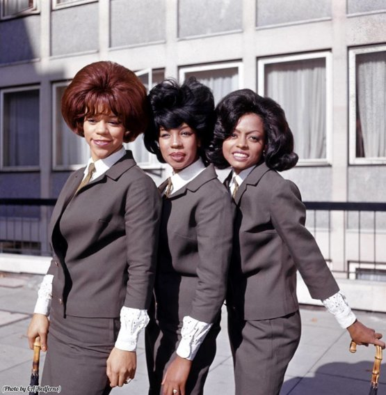 The Supremes looking fantastic outside of Manchester Square, London, 1963.