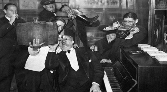 Men celebrating the end of prohibition, (1933).