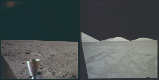 The first and last (so far!) photographs taken by humans on the moon, 1969 and 1972 |