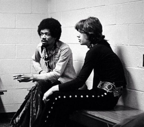 Jimi Hendrix and Mick Jagger in New York, 1969