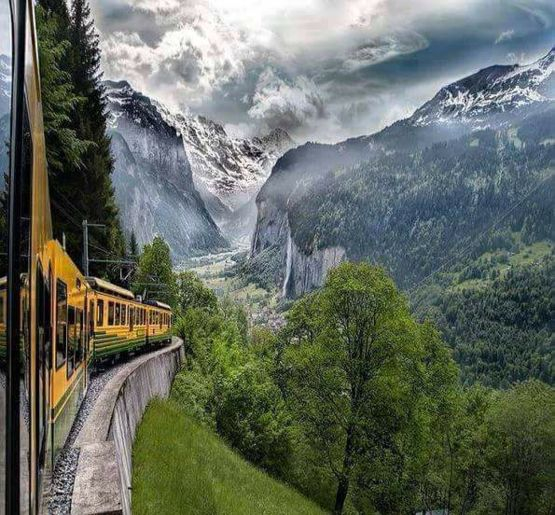 Train crossing the Swiss Alps.