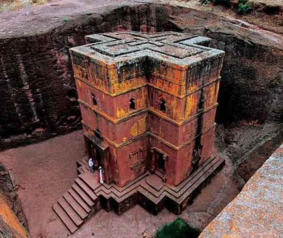Rock-Hewn church in Lalibela, a town in northern Ethiopia famous for its monolithic rock-cut churches