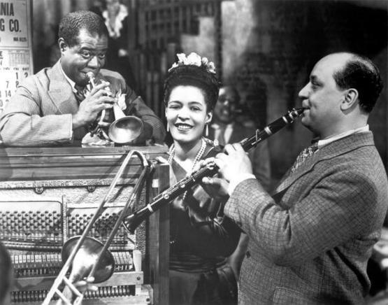 Louis Armstrong, Billie Holiday, and Barney Bigard in New Orleans, 1947.
