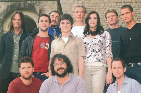 Peter Jackson with the cast before they began filming Lord