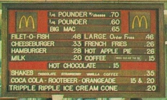 McDonalds Menu in the early 1970's