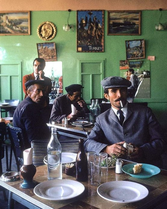Turkish men having lunch in restaurant of Nevsehir named Lokanda, 1970. Photograph by Bill Ray.