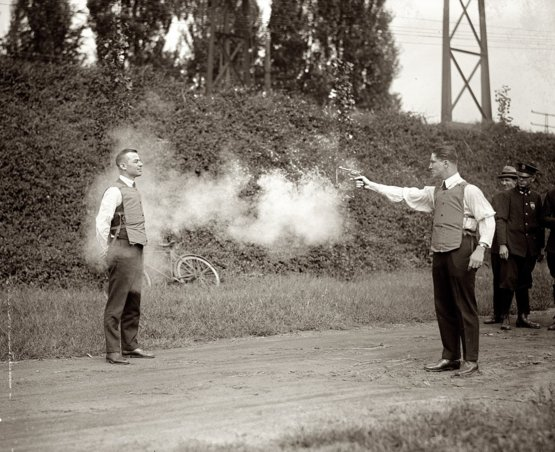 Testing a bulletproof vest in Washington, D.C. September 1923.