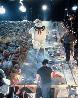 Marshmallow Man from Ghostbuters on the set of movie