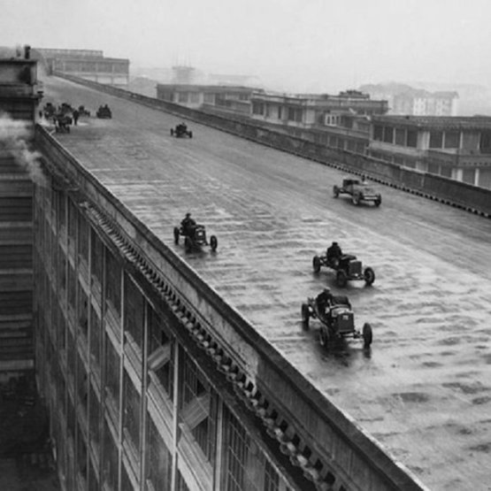 Racing cars on the roof of the Fiat Factory in Turin, Italy (1923)