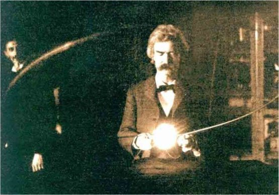 Mark Twain inside the laboratory of Nikola Tesla, 1894.