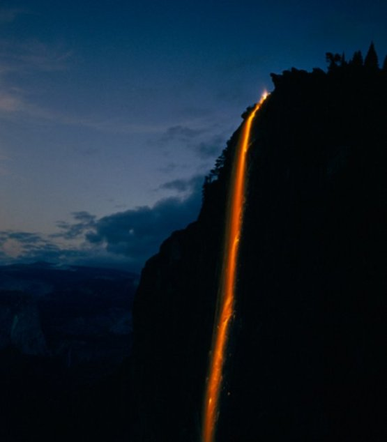 Yosemite Fire Fall; a ritual in which burning hot embers were dropped from Glacier Point, 1958.