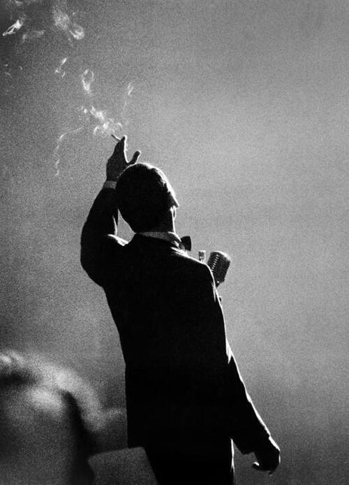 Frank Sinatra performing in Monte Carlo, 1958 (By Herman Leonard)