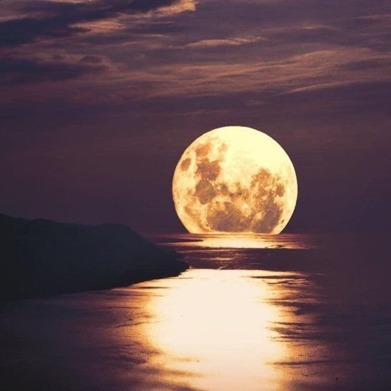 Full moon over Montreux, Switzerland