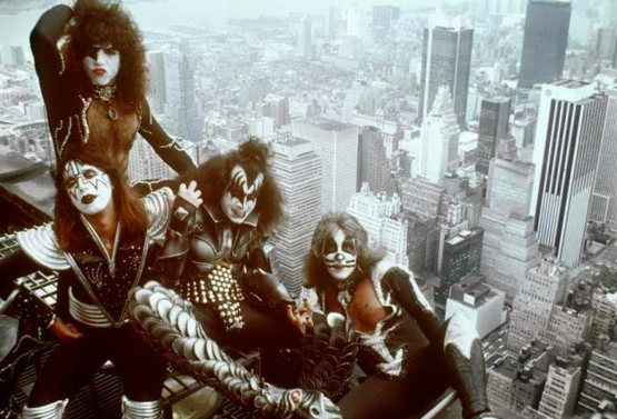 KISS on the Empire State Building, NYC, c. 1970s. Photo by Barry Levine.