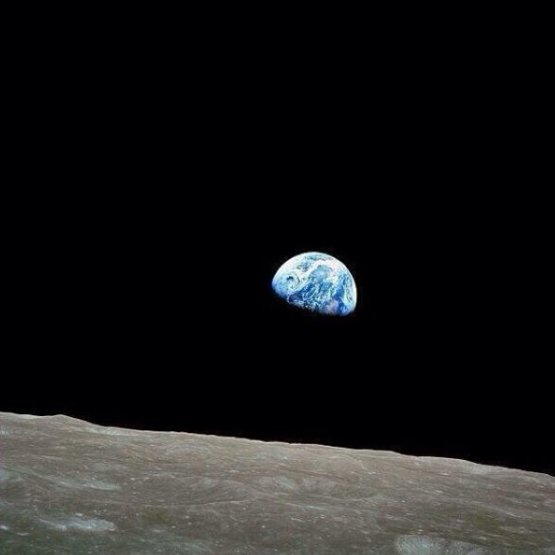 Earthrise' over the moon, taken by members of Apollo 8 in 1968