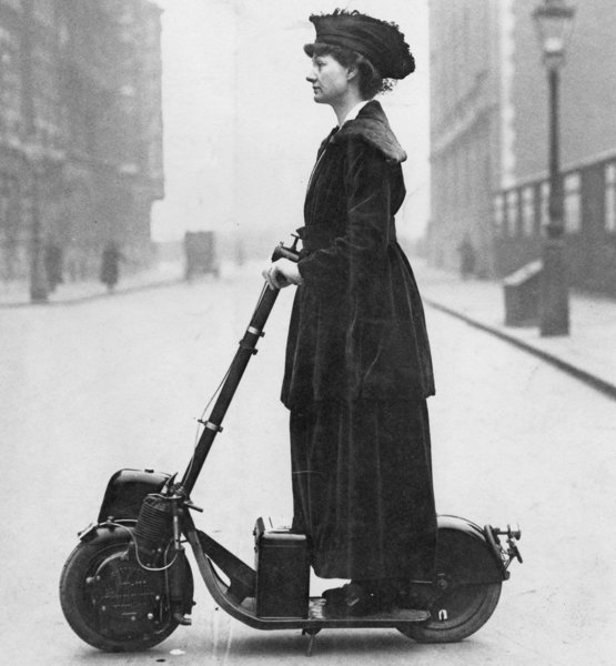 Lady Norman on her scooter/Autoped, 1916