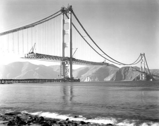 Golden Gate Bridge construction. 1937.
