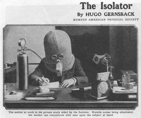 The Isolator, a helmet invented in 1925 that encourages focus and concentration