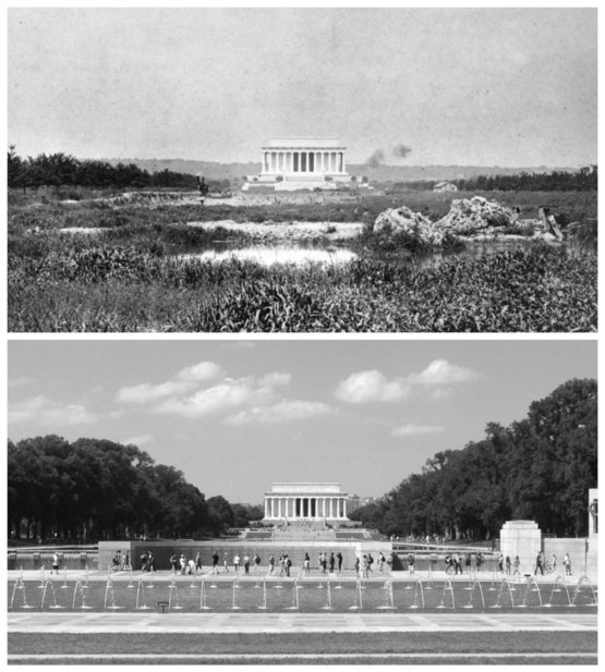 The Lincoln Memorial in 1917 vs present day. Photograph by the Library of Congress.