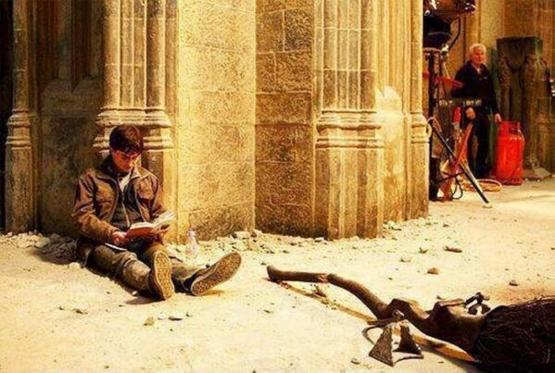 "Harry Potter on the set of ""Harry Potter"" reading ""Harry Potter"""