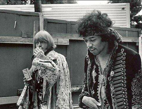 Jimi Hendrix and Brian Jones at the Monterey Pop Festival, c. 1967.