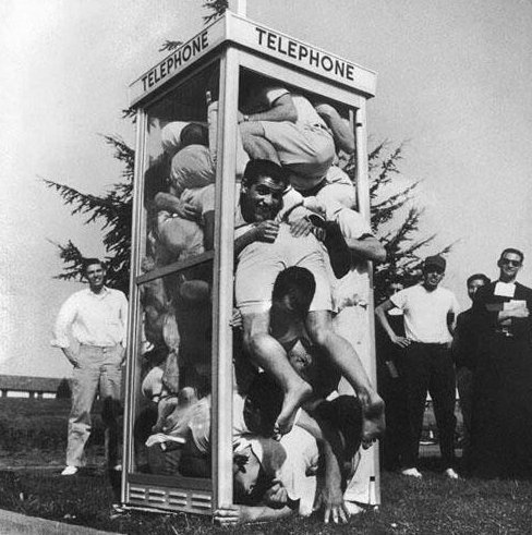 South African students crammed 25 students into a phone booth for a Guinness World Record.