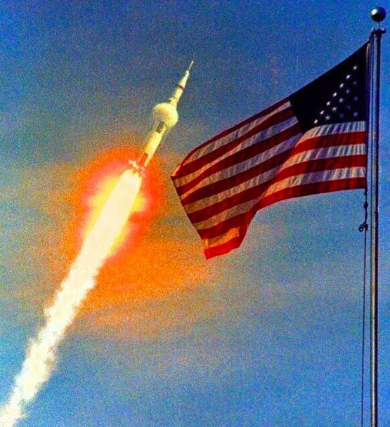 The launch of Apollo 11, the first Lunar landing mission, on July 16, 1969