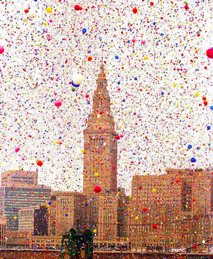 The Cleveland Balloonfest. Over 1.5 million balloons were released simultaneously, 1986