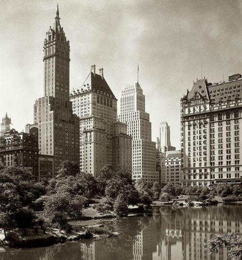 A view across New York's Central Park Lake. Photograph by Samuel Gottscho.