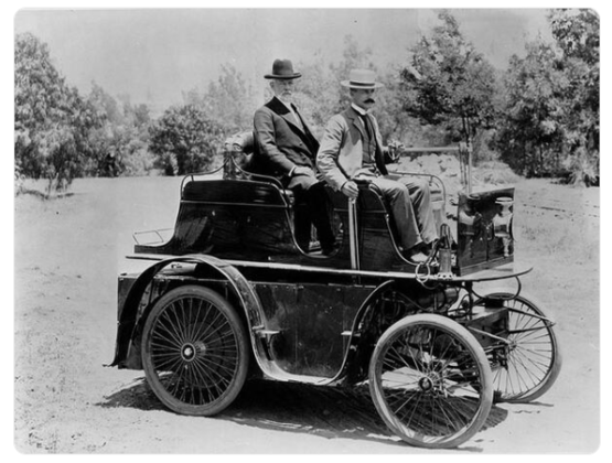First automobile in Los Angeles, 1897. Built by J. Philip Erie.
