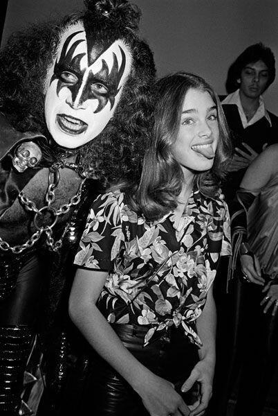 Gene Simmons and a thirteen year old Brooke Shields, 1979