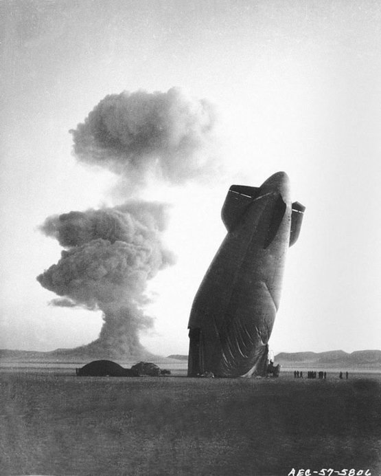A blimp destroyed by the shockwave of a nuclear blast, Nevada, 1957.