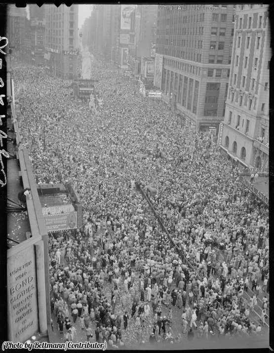 May 8, 1945. Two million people gathered in Times Square to celebrate VE Day.