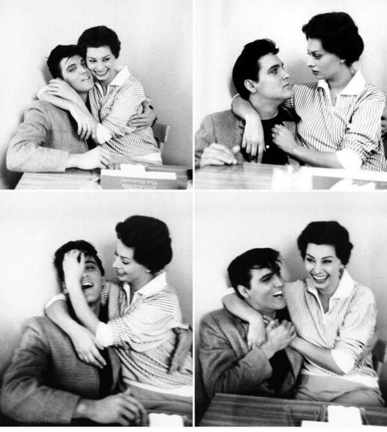 Elvis Presley and Sophia Loren, in February of 1958 - at Paramount Studios.