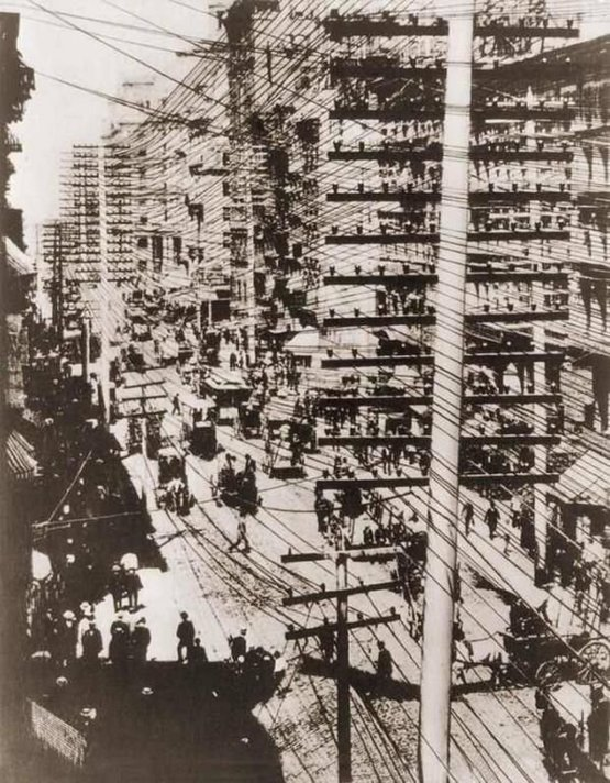 The Telephone Wires of Manhattan, 1887.
