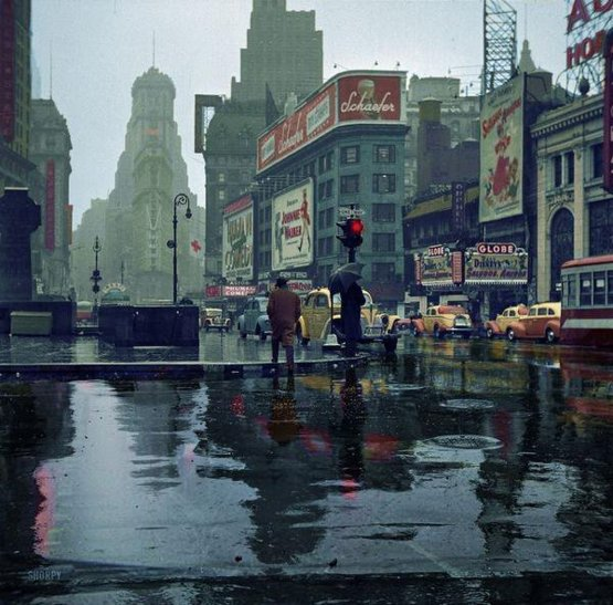 NYC. Wet Times Square, 1943, Photograph by John Vachon.