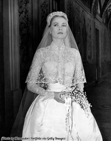 Grace Kelly in her wedding dress, on this day 63 years ago.