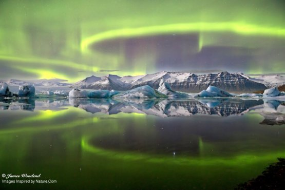 Aurora over a Glacier Lagoon photography by James Woodend