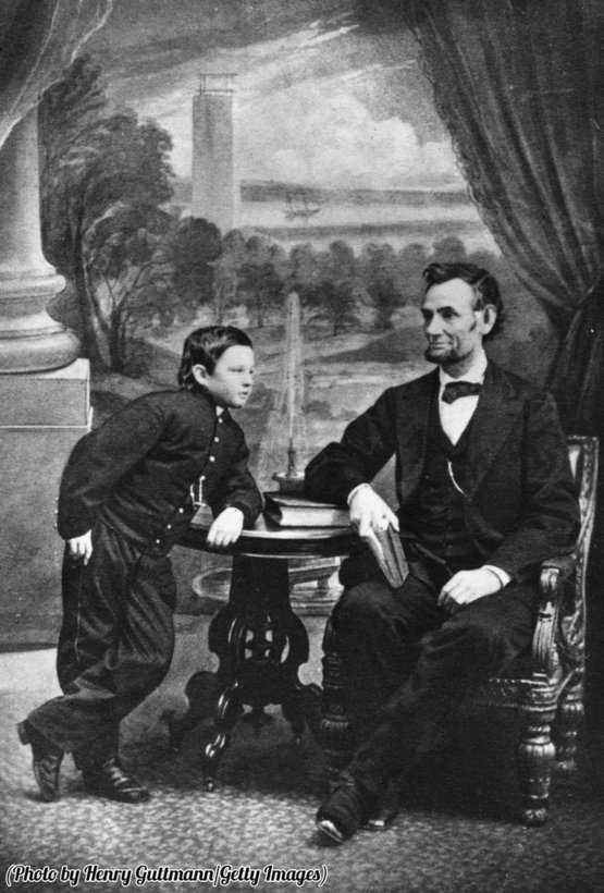 Abraham Lincoln with his son Thomas, 1860.